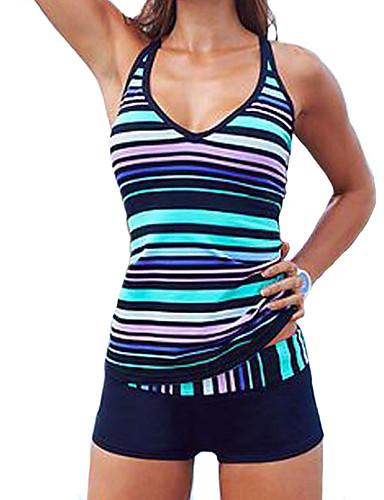 billige Dametopper-Dame Store størrelser Sporty Grime Blå Boy Leg Bikinikjole Badetøy - Stripet Trykt mønster XL XXL XXXL Blå