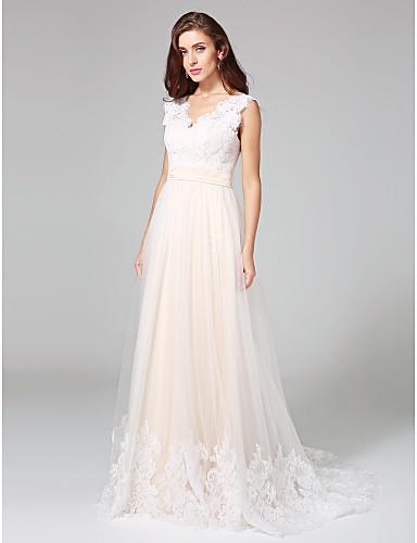 Linha A Decote V Cauda Corte Renda Tule Vestido de casamento com Apliques de LAN TING BRIDE®
