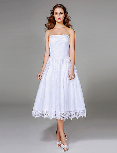 Linha A Sem Alças Longuette Renda Vestido de casamento com Franzido de LAN TING BRIDE®