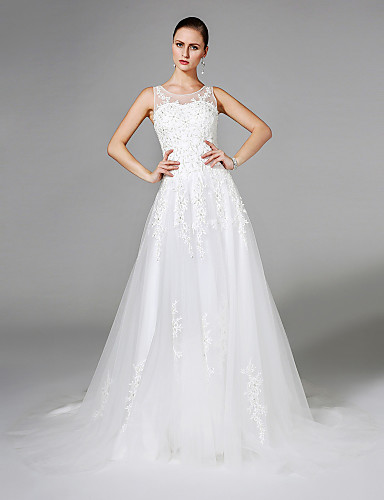 A-Line Illusion Neckline Court Train Lace Tulle Wedding Dress with Appliques Pearl Detailing by LAN TING BRIDE®