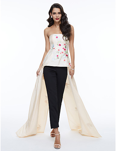 Linha A Sem Alças Assimétrico Cetim Evento Formal Vestido com Bordado Pregas de TS Couture®