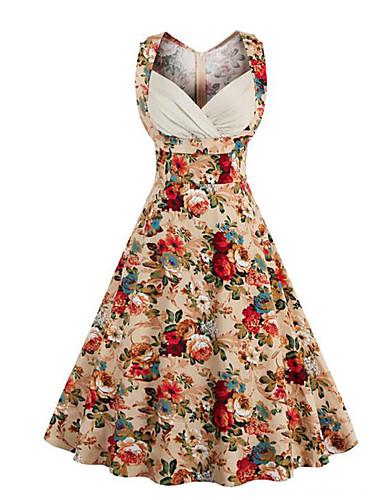 Mujer Tallas Grandes Noche Vintage / Chic de Calle Algodón Línea A Vestido Floral Hasta la Rodilla Escote Corazón / Verano / Patrones florales