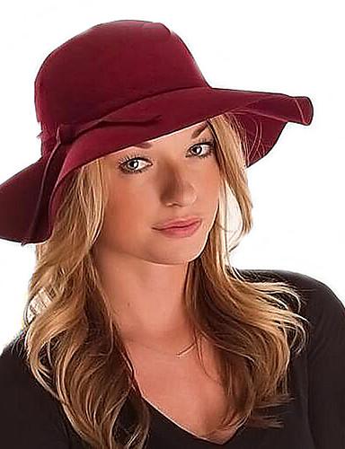 abordables Sombreros de mujer-Mujer Lana Sombrero Fedora - Vintage / Casual Un Color