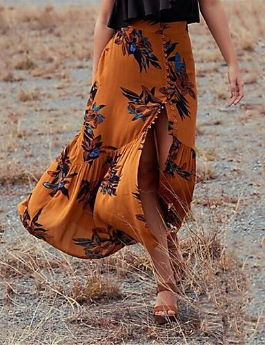 abordables Camisas y Camisetas para Mujer-Mujer Chic de Calle Festivos / Noche Columpio / Corte Sirena Faldas Floral