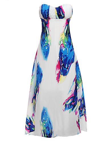 Damen Flapper (20er) Kleid Blumen Maxi Trägerlos