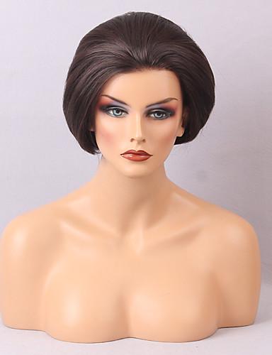 abordables Perruques Naturelles Dentelle-Perruque Cheveux Naturel humain Lace Frontale Cheveux Brésiliens Droit Femme avec des cheveux de bébé Ligne de Cheveux Naturelle Perruque afro-américaine 100 % Tissée Main Marron foncé Perruque