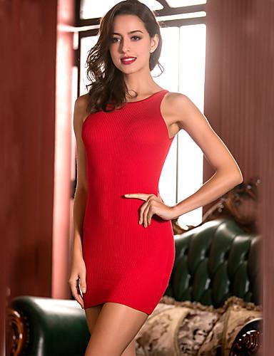 Mujer Noche / Discoteca Corte Bodycon / Vaina Vestido - Ahuecado, Un Color Tiro Alto Mini Halter / Con Lazo