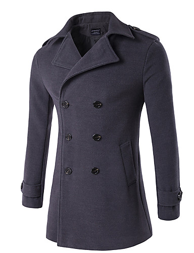 Men's Vintage / Street chic Plus Size Cotton Coat - Solid Colored Stand / Long Sleeve / Double Breasted