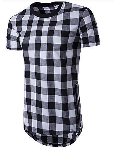 Bomull Rund hals T-skjorte Herre - Ensfarget / Ruter Sport / Kortermet / Lang