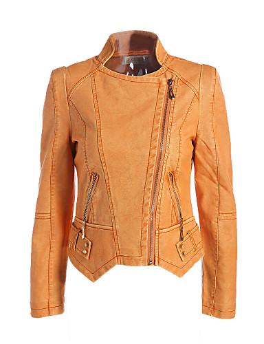 Women's Vintage Street chic Plus Size Leather Jacket-Solid Colored