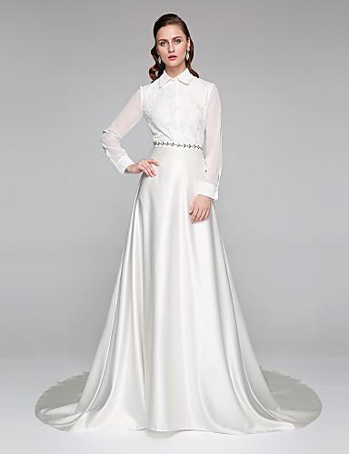 Linha A Gola Alta Cauda Capela Chiffon Renda Cetim Vestido de casamento com Faixa / Fita Laço de LAN TING BRIDE®