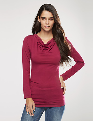 Langærmet Hængende krave Medium Kvinders Rød Ensfarvet Forår / Efterår Street Casual/hverdag T-shirt,Polyester