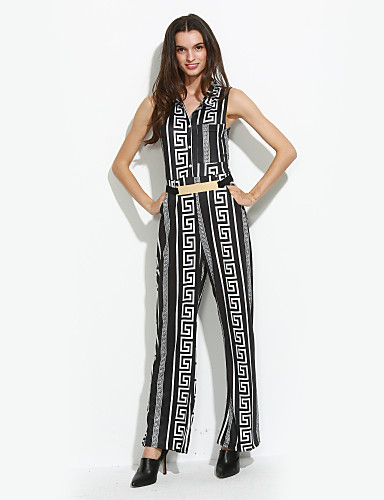 Dames Geometrisch Club Casual/Dagelijks Breed Been Vintage Street chic Jumpsuits,Mouwloos Opstaand Herfst Zomer Polyester