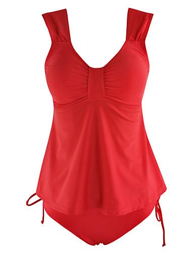 abordables Hauts pour Femmes-Femme Uni Rubans Licou Rouge Une-pièce Maillots de Bain - Couleur Pleine XL XXL XXXL Rouge
