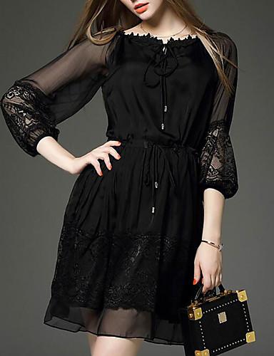 فستان نسائي شيفون دانتيل فوق الركبة لون سادة مناسب للخارج
