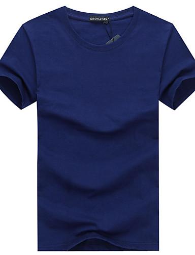 Homens Tamanhos Grandes Camiseta - Esportes Buraco, Sólido Algodão Decote Redondo