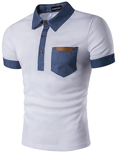 Homens Polo Geométrica Colarinho de Camisa