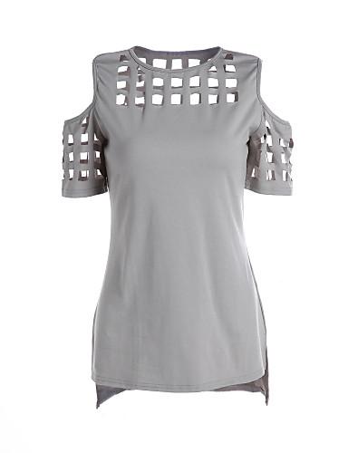 Damen Solide Freizeit Street Schick Alltag Ausgehen T-shirt,Rundhalsausschnitt Sommer Kurzarm Polyester Mittel