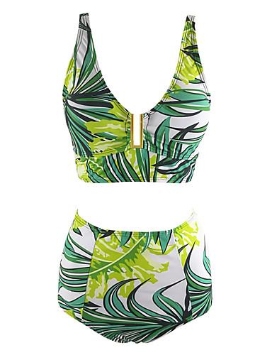 abordables Hauts pour Femmes-Femme Géométrique Rubans Licou Vert Taille haute Bikinis Maillots de Bain - Fleur Imprimé L XL XXL Vert
