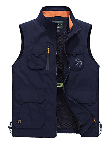 cheap Outdoor Clothing-Men's Hiking Vest Outdoor Waterproof Thermal / Warm Breathable Quick Dry Spring Summer Fall Jacket Top Camping / Hiking Fishing Backcountry Blue Jade Khaki L XL