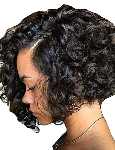 povoljno Perike s ljudskom kosom-Ljudska kosa Perika s prednjom čipkom bez ljepila Lace Front Perika Bob frizura stil Brazilska kosa Ravan kroj Kovrčav Perika 150% Gustoća kose s dječjom kosom Prirodna linija za kosu Afro-američka