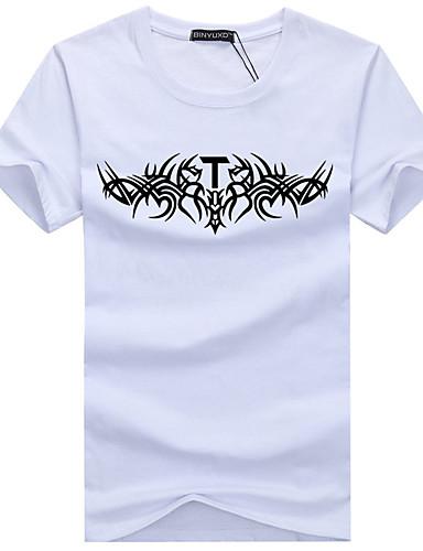 voordelige Uitverkoop-Heren Standaard Print Grote maten - T-shirt Katoen, Sport Grafisch Ronde hals Slank Zwart / Korte mouw / Zomer