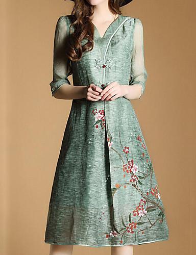 abordables Robes Femme-Femme Fleur Sortie Simple Mi-long Ample Robe Fleur Col en V Eté Vert XL XXL XXXL