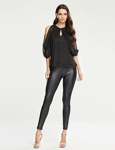 여성 솔리드 라운드 넥 짧은 소매 블라우스,스트리트 쉬크 캐쥬얼/데일리 폴리에스테르 여름 불투명