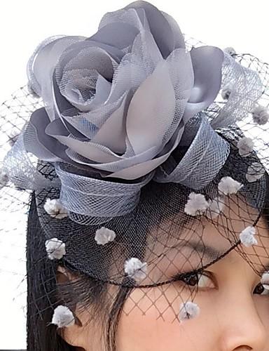 billige Hatte & Imponeringer-Nett / Satin fascinators / blomster / Birdcage slør med 1 Bryllup / Spesiell Leilighet / Avslappet Hodeplagg