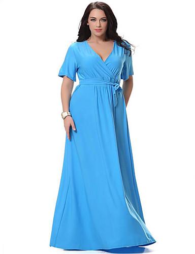 فستان نسائي قياس كبير متموج بوهو قطن طويل للأرض لون سادة منخفضة V رقبة