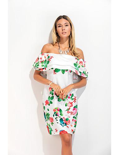 Mulheres Para Noite / Praia Tubinho / Bainha Vestido - Frente Única / Camadas, Floral Decote Canoa Altura dos Joelhos