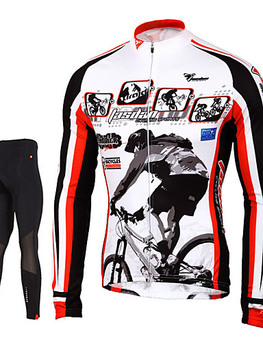 cheap Cycling Clothing-TASDAN Men's Long Sleeve Cycling Jersey with Tights - Black Bike Pants / Trousers Jersey Tights Breathable 3D Pad Quick Dry Reflective Strips Back Pocket Winter Sports Elastane Painting Mountain Bike