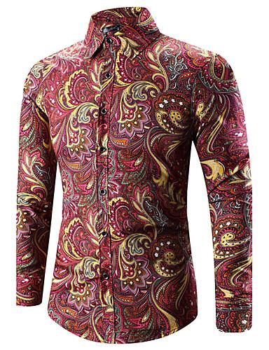 voordelige Herenoverhemden-Heren Vintage / Boho Print Grote maten - Overhemd Paisley / Tribal Klassieke boord Goud / Lange mouw / Lente / Herfst