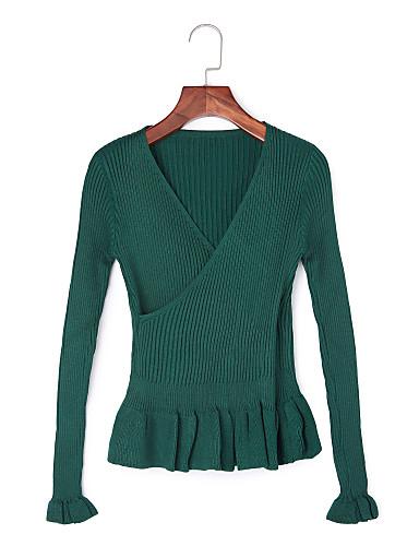 Damer Simpel Afslappet/Hverdag Normal Pullover Ensfarvet,V-hals Langærmet Polyester Efterår Vinter Medium Mikroelastisk