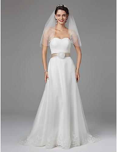 A-Linie Sweetheart Boden-Länge Spitze Tüll Hochzeitskleid mit Schleife durch LAN TING BRIDE®