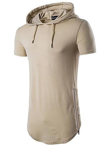 voordelige Heren T-shirts & tanktops-Heren EU / VS maat - T-shirt Katoen, Sport Effen Capuchon Beige / Korte mouw / Zomer