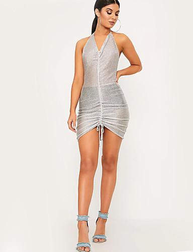 여성 바디콘 칼집 드레스 비치 클럽 섹시 솔리드,홀터 넥 비대칭 민소매 폴리에스테르 여름 높은 밑위 약간의 신축성 얇음