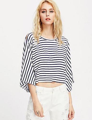 여성 줄무늬 라운드 넥 ¾ 소매 티셔츠,귀여운 정교한 디테일 캐쥬얼/데일리 휴일 면 봄 여름 얇음