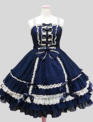 رخيصةأون Lolita فساتين-أميرة القوطية لوليتا شيفون مخمل نسائي للفتيات فساتين تأثيري طول الركبة ازياء
