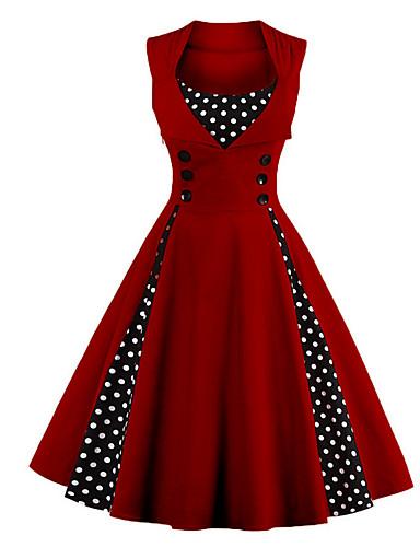hesapli Kadın Elbiseleri-Kadın's Büyük Bedenler Tatil Dışarı Çıkma Vintage 1950'ler A Şekilli Elbise - Yuvarlak Noktalı, Desen Midi Kırmızı / Parti