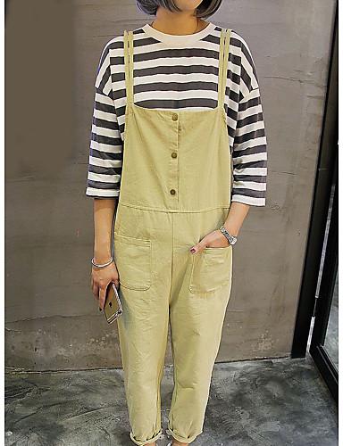 Damen Niedlich Mittlere Hüfthöhe Mikro-elastisch Overall Gerade Hose einfarbig