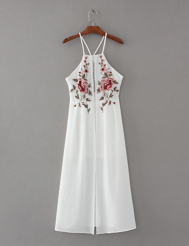 여성 루즈핏 시프트 드레스 데이트 캐쥬얼/데일리 단순한 스트리트 쉬크 프린트,스트랩 맥시 민소매 실크 면 여름 가을 중간 밑위 약간의 신축성 중간