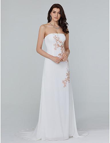 Eng anliegend Trägerlos Pinsel Schleppe Chiffon Formeller Abend Kleid mit Applikationen durch TS Couture®