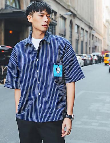 남성 줄무늬 셔츠 카라 짧은 소매 셔츠,심플 캐쥬얼/데일리 면 봄 여름 얇음