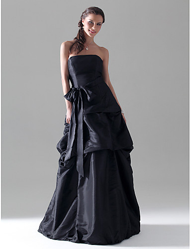 Trapèze Princesse Sans Bretelles Longueur Sol Taffetas Robe de Demoiselle d'Honneur  avec Noeud(s) Jupe Ceinture / Ruban par LAN TING