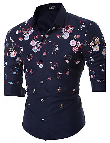 Pánské - Květinový Vintage Košile Bavlna
