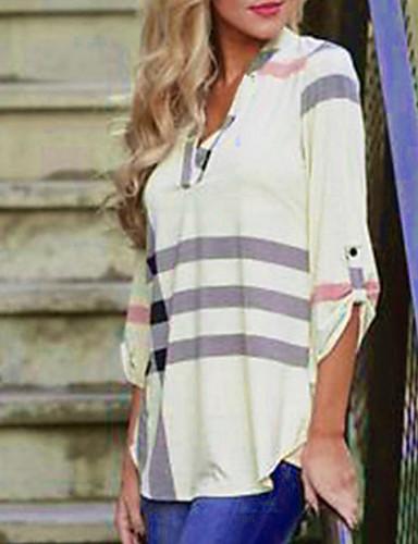 billige Dametopper-Løstsittende V-hals Skjorte Dame - Stripet Gatemote Svart / Høst