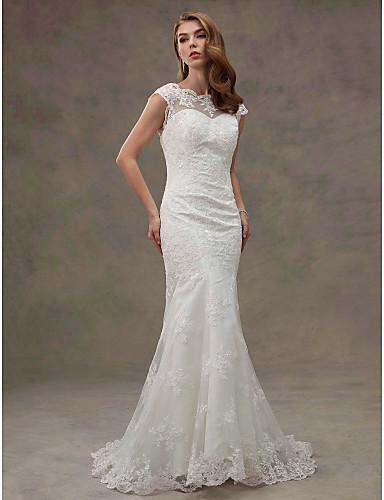 Sereia Scoop pescoço Cauda Corte Renda sobre Tule Vestidos de casamento feitos à medida com Apliques / Renda de LAN TING BRIDE®