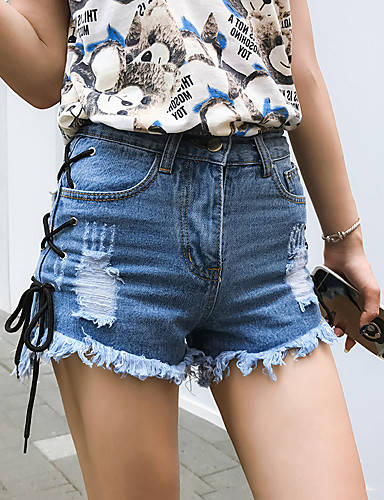 Pantalones Street cortos algodón Chic vaqueros de de alta rectos cintura Woman VUMGSqzp