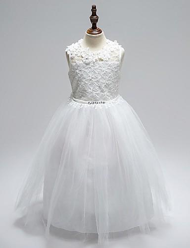 Plesové šaty kotník délka květina dívka šaty - organza bez rukávů šperk krk s aplikací